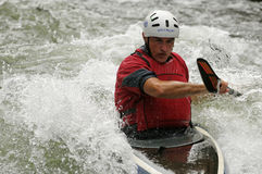 Kayaker negotiating the rapids Royalty Free Stock Images
