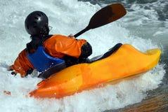 Kayaker no rio fotografia de stock