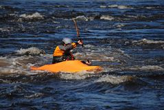 Kayaker in the ocean Royalty Free Stock Photos