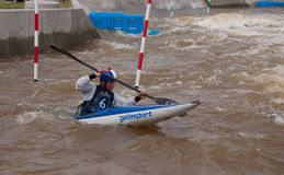 Kayaker at the Oklahoma City RiverSport Rapids Stock Image