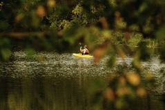 Kayaker paddling Blackstone River Royalty Free Stock Image