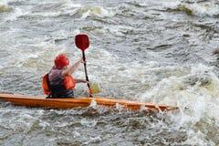 Kayaker on river Vuoksi Royalty Free Stock Photo