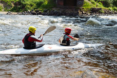 Kayaker on river Vuoksi Stock Photography