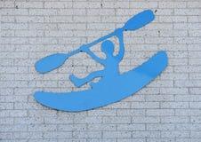 Kayaker sign on wall Royalty Free Stock Image