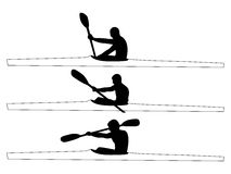 Kayaker silhouettes. Kayaking people silhouettes. Vector illustration Royalty Free Stock Image