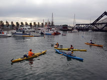 Kayaker sit in McCovey Cove having fun Stock Photos