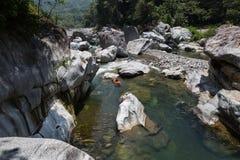 Kayaker sur la rivière cangrejal dans le hond de parc national de bonito de pico Photographie stock libre de droits