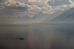 Kayaker sur le lac jackson Photographie stock libre de droits