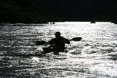 kayaker sylwetka Zdjęcie Royalty Free