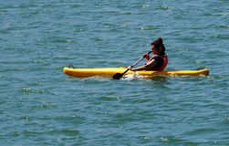 Kayaker On The Tagus River In Lisbon Portugal royalty free stock photos