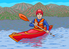 The kayaker is in the water campaign. Stock Image