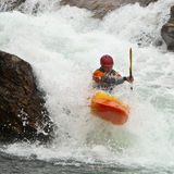 Kayaker in the waterfall Stock Photo
