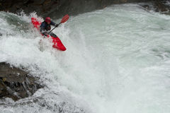 Kayaker in the waterfall Royalty Free Stock Photography