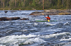 Kayaker in whitewater Royalty Free Stock Images