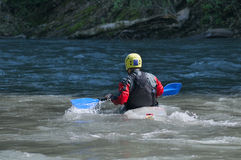 Kayakers υποστηρίξτε την όψη Το καγιάκ κρανών Στοκ Εικόνες