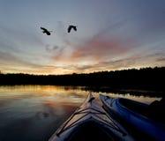 Заход солнца озера глуш Стоковое фото RF