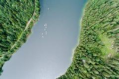 Kayakers на озере Стоковые Фото