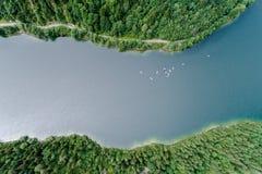 Kayakers на озере Стоковая Фотография