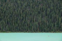 Kayakers на Lake Louise backdropped лесом гигантских елей Стоковые Изображения