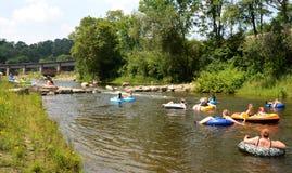 Kayakers aux cascades d'Argo photographie stock