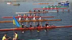 Kayakers in the competition team. Dnepropetrovsk SEPTEMBER 11, 2016: Kayakers in the competition team on City Day in Dnepropetrovsk, September 11, 2016 in stock footage