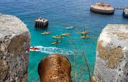 Kayakers de Beekenburg do forte imagens de stock