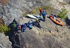 Kayakers en la garganta Fotografía de archivo