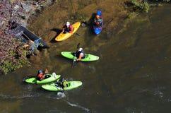 Kayakers en la garganta Fotos de archivo