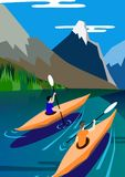 Kayakers float on the lake, mountains background, nature, peace and serenity. Vector illustration banner. Stock Images