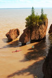 Kayakers at Hopewell Rocks Royalty Free Stock Images