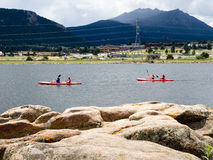 Kayakers on Lake Estes Royalty Free Stock Photos