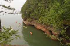 Kayakers on Lake Superior Royalty Free Stock Photography