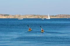 Kayakers na morzu Obraz Royalty Free