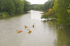 Kayakers on the Nottawasaga River stock photo