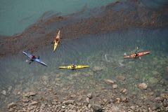 Kayakers på bedrägeripasserandet Royaltyfri Foto