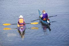 Kayakers paddling Royalty Free Stock Photo
