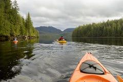 Kayakers que remam na água calma Imagens de Stock Royalty Free
