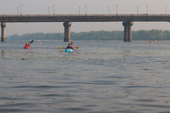 Kayakers on the river dnepr in kiev Royalty Free Stock Images