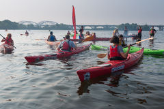 Kayakers on the river dnepr Stock Photos