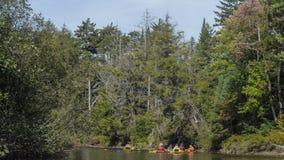 Kayakers on river stock photos