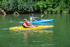 Kayakers on the Roanoke River Royalty Free Stock Image