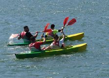 Kayakers On The Tagus River In Lisbon Portugal stock image