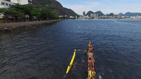 Kayakers training on Guanabara bay in Rio de Janeiro, Brazil stock footage
