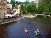 Kayakers on Vtlava River, Cesky Krumlov, Czech Republic Stock Photography