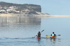Kayaking on Óbidos Lagoon stock photography