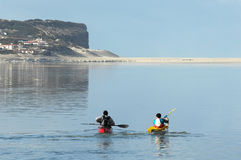 Kayaking on Óbidos Lagoon Stock Images