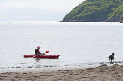 Kayaking κοντά στην ακτή Στοκ εικόνες με δικαίωμα ελεύθερης χρήσης