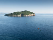 Kayaking on the adriatic Dubrovnik, Croatia in the evening Royalty Free Stock Photography