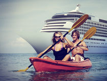 Kayaking Adventure Happiness Recreational Pursuit Couple Concept.  stock photography