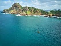 Kayaking adventure in ocean coastline. Kayaking adventure in ocean Nicaragua coastline aerial drone view royalty free stock images